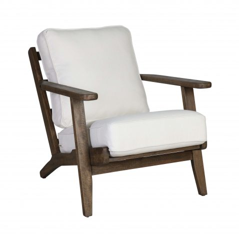 Block & Chisel ivory upholstered occasional chair with rubber wood legs