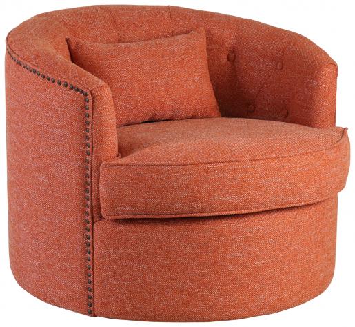Block & Chisel orange upholstered swivel tub chair