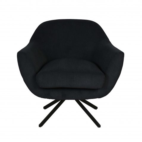 Block & Chisel charcoal upholstered swivel chair with black metal base