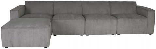 Block & Chisel grey corduroy upholstered corner sofa
