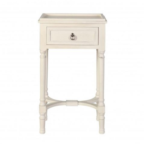 Block & Chisel wooden 1 drawer bedside with antique pearl finish