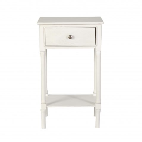 Block & Chisel 1 drawer white bedside table with shelf