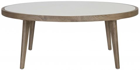 Block & Chisel round elm coffee table with marble top