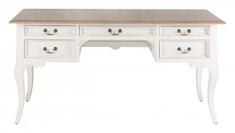 Block & Chisel weathered oak desk with antique white clay base