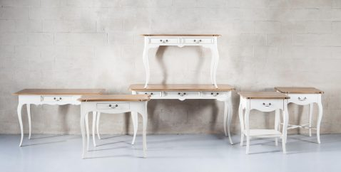 Block & Chisel weathered oak writing table with antique white base
