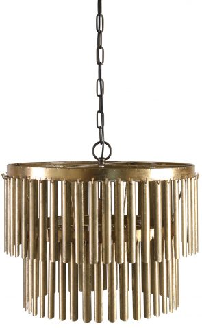 Block & Chisel metal 2 tier chandelier with antique gold finish
