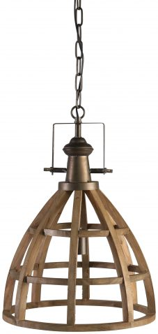 Block & Chisel dome metal and wood chandelier