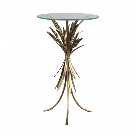 Round tripod gold side table with glass top