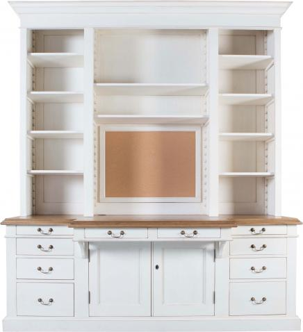 Block & Chisel weathered oak work station with a antique white finish
