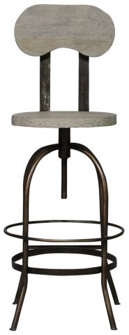Block & Chisel teak wood barstool with iron base