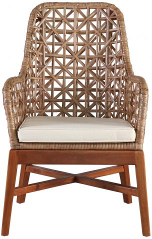 Block & Chisel natural rattan peel armchair with wood base
