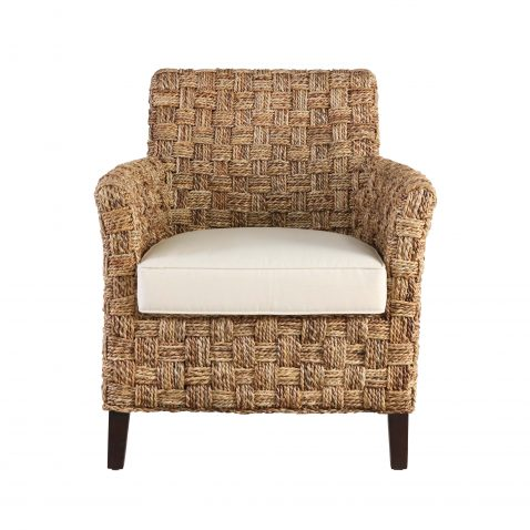 Block & Chisel banana leaf twist occasional chair with wooden legs