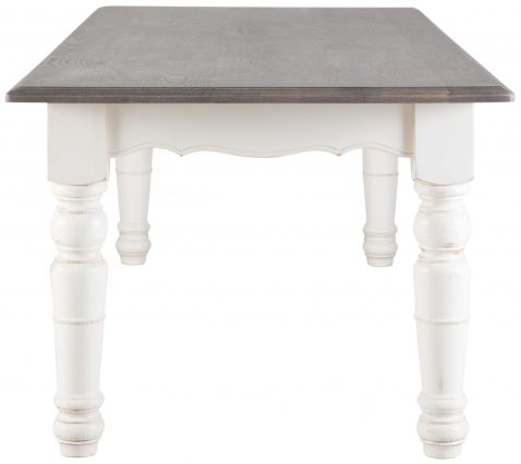 Block & Chisel rectangular weathered oak dining table with an antique white finish