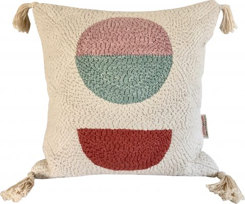 punch needle scatter cushion with tassels