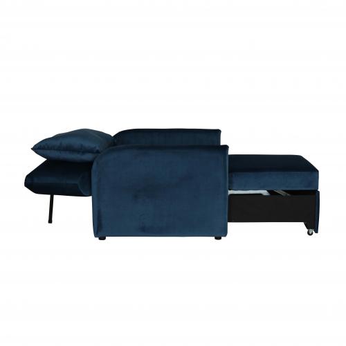 Blue velvet sleeper armchair