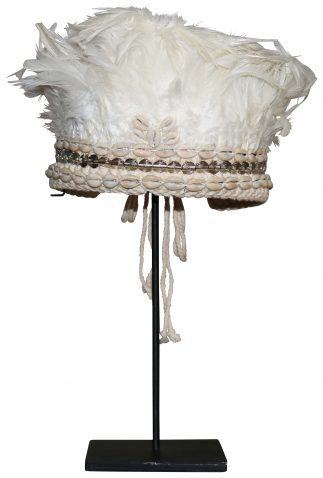 Block & Chisel shell and feather headdress on metal stand