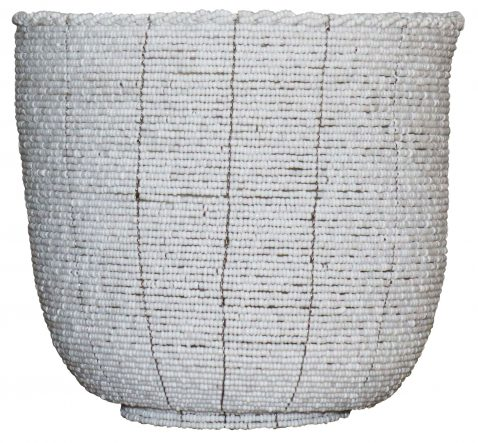 Block & Chisel round white and white gold beaded pot