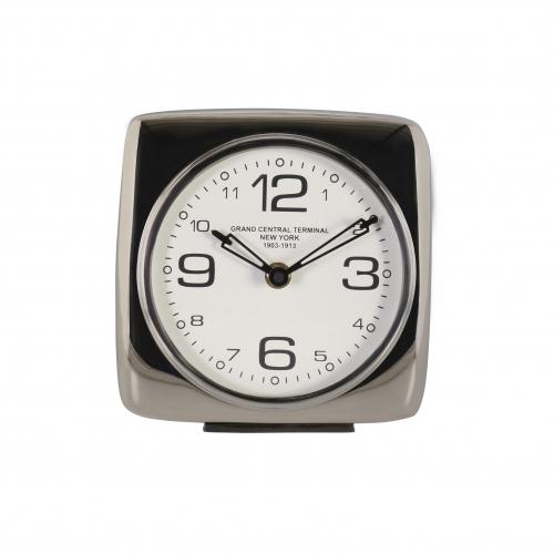 silver square table clock