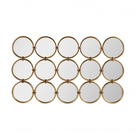 repeated grid circle mirror in rectangle form with gold frame