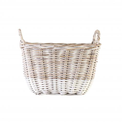 Block & Chisel kubu rattan basket with white stripe