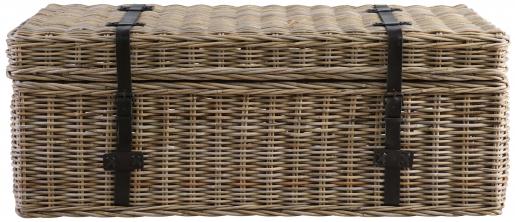 Block & Chisel kubu rattan basket with leather straps