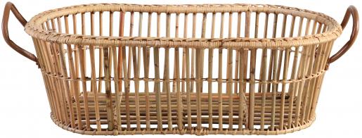 Block & Chisel oval kubu rattan laundry basket with leather handles