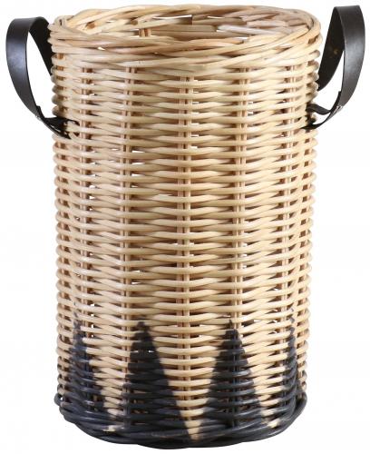 Block & Chisel round kubu rattan basket with black trim