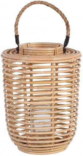 Block & Chisel round natural kubu rattan candle holder
