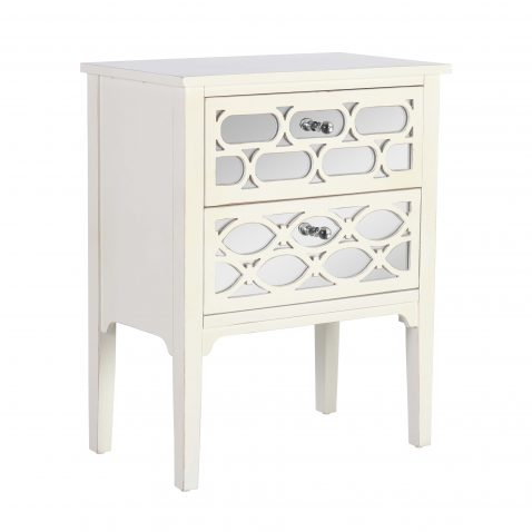 White aged chest of drawers with mirror panelled 3 drawers