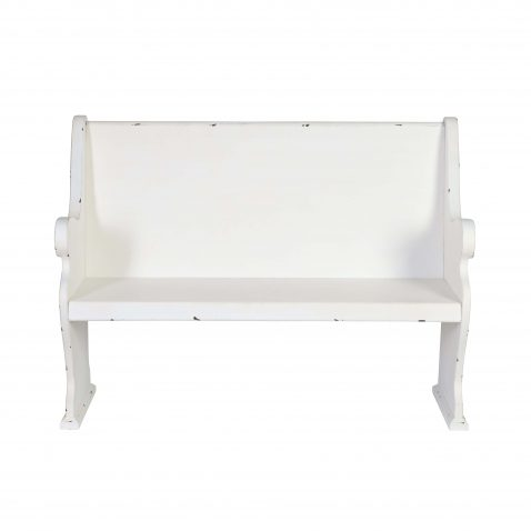 White church bench with a distressed finish