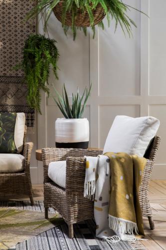 rattan chair with cream cushions