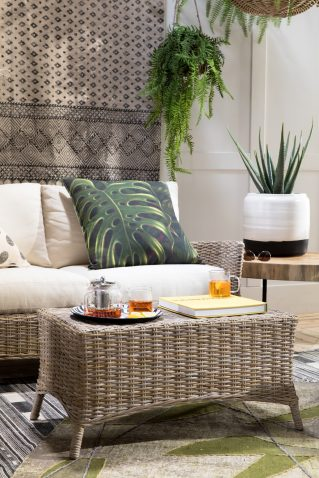 Rattan coffee table in vibe shot with Tuscan Sofa Set
