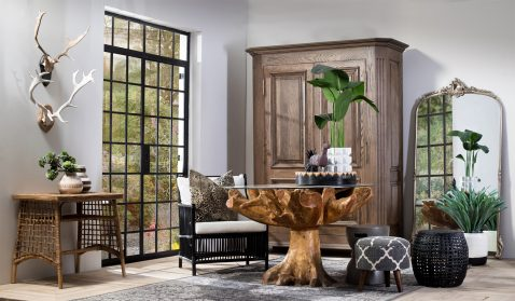 Block & Chisel natural rattan side table