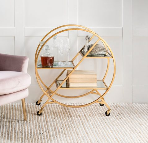 Marilyn Drinks Trolley - hula hoop styled drinks trolley with gold metal frame and mirrored top with wheels