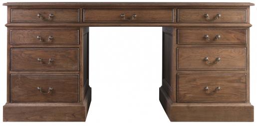 Block & Chisel solid weathered antique oak pedestal desk