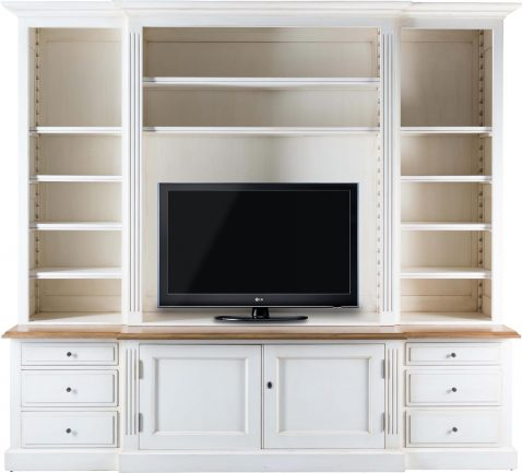 Block & Chisel weathered oak tv unit in antique white
