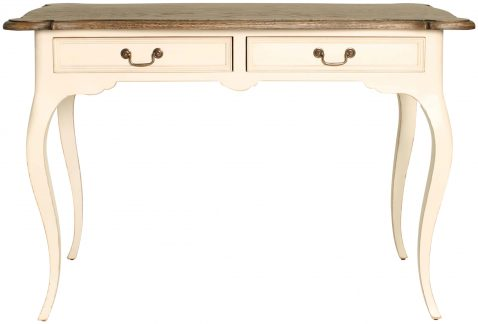 Block & Chisel antique weathered oak writing table with antique white base