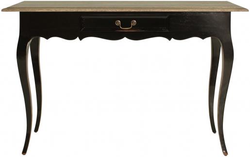 Block & Chisel railway oak writing table with black base