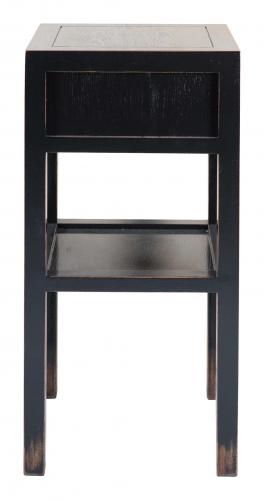 Block & Chisel solid weathered oak bedside table in black