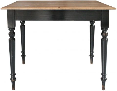 Block & Chisel square antique weathered oak dining table with black finish