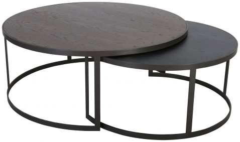 Block & Chisel round antique weathered oak nested coffee table with matt black base