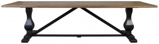 Block & Chisel rectangular dining table with vintage oak top and matt black base