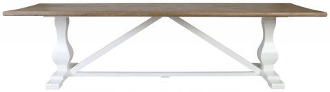 Block & Chisel rectangular dining table with vintage oak top and flat white base