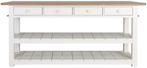 Block & Chisel kitchen island with weathered oak top and white base