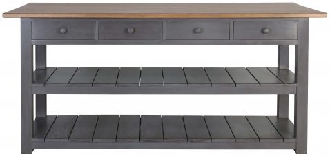 Block & Chisel kitchen island with weathered oak top and grey base