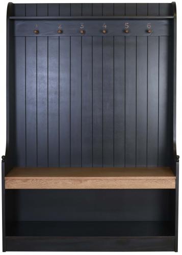 Block & Chisel matt black coat stand with weathered oak seat
