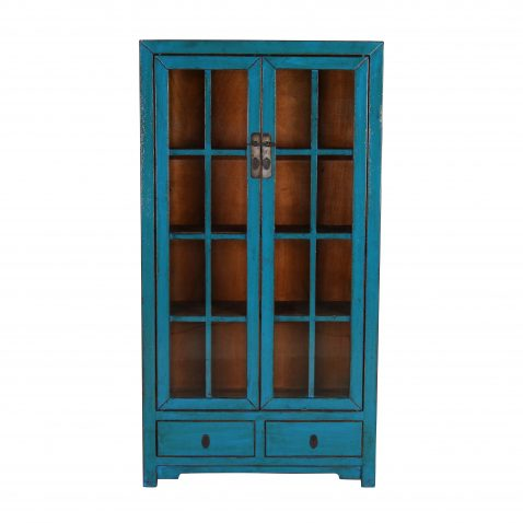 Block & Chisel blue wooden cabinet with glass doors