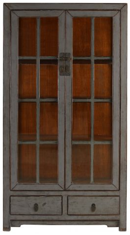 Block & Chisel grey wooden cabinet with glass doors
