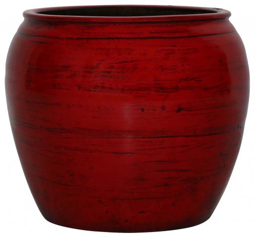 Block & Chisel round red decorative pot