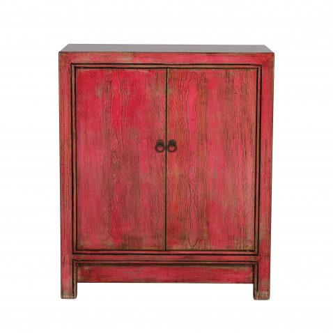 distressed pink painted cabinet with 2 doors
